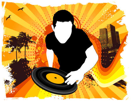 Summer beach party DJ-mixen Stock Illustratie