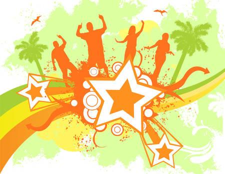 Color beach party concept illustration