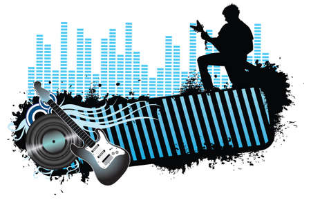 musician silhouette: Rock banner concept illustration