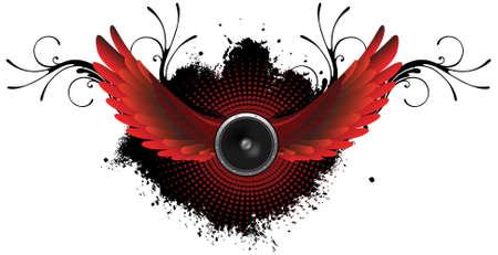 Speaker with wings concept illustration  Illustration