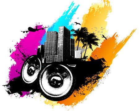 Music color city concept illustration  Иллюстрация