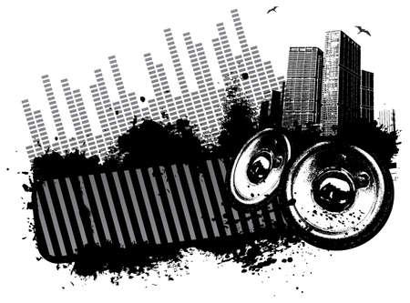 Grunge speaker city concept illustration  Vettoriali