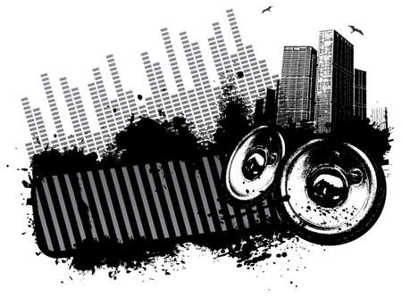 Grunge speaker city concept illustration  Çizim