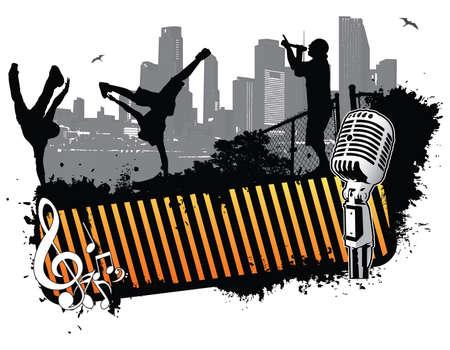 hip hop dancing: Break dance city street banner Illustration