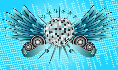 Disco ball with wings and speakers