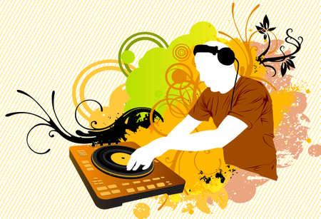 disc jockey: DJ in color