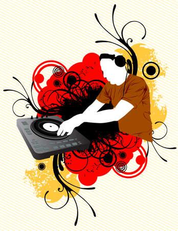 mixing: Dj Mixing Illustration