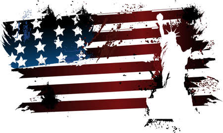 American grunge flag with Statue of Liberty