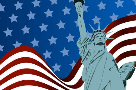 the americas: American Flag of liberty with Statue of Liberty Illustration