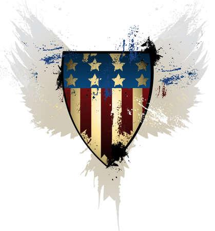 eagle flying: American Shield Grunge  Illustration