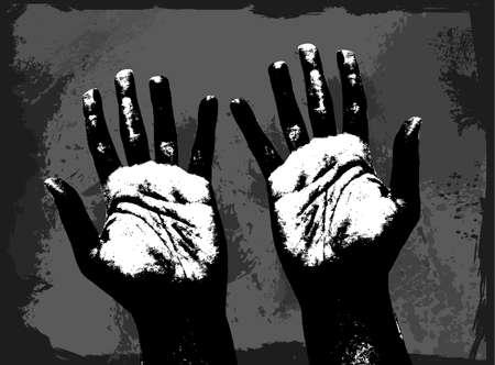 Human hands in black