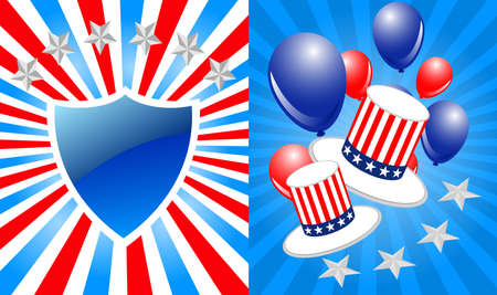 uncle sam: President day background shield and hat Illustration