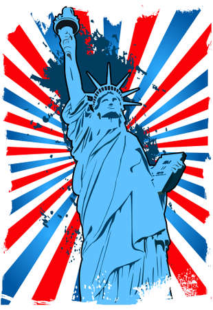 Statue of Liberty blue background grunge Vector