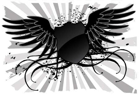 character traits: Grunge black shield Illustration