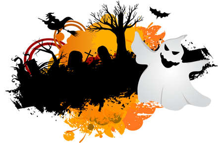 Halloween ghost grunge Vector