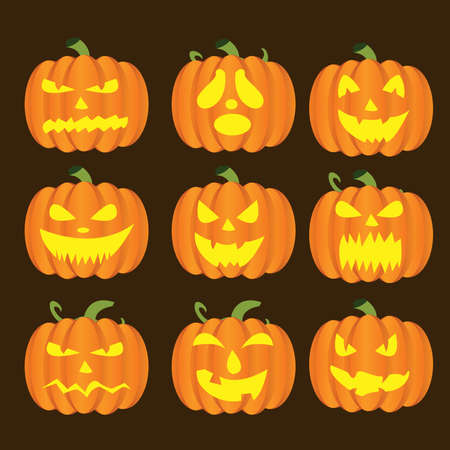 Halloween Pumpkins faces Illustration