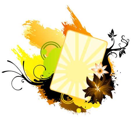 Color floral banner Illustration