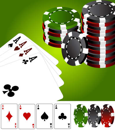 Four aces poker vegas Vector