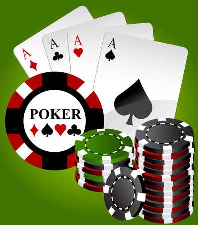 poker chip: Four aces poker high end green Illustration