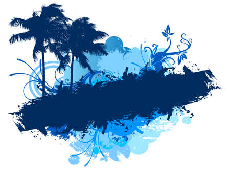 Grunge blue palms