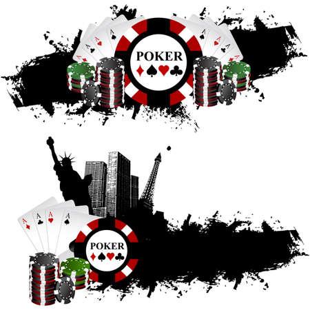 Vegas poker banner chips Vector