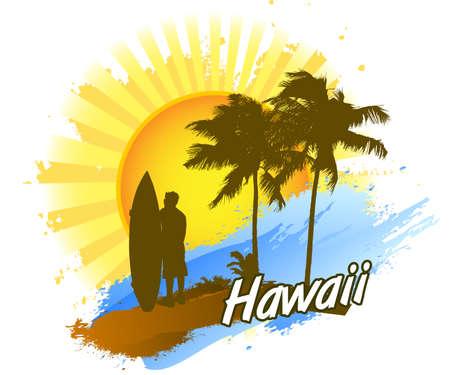 Surf hawaii Ilustrace