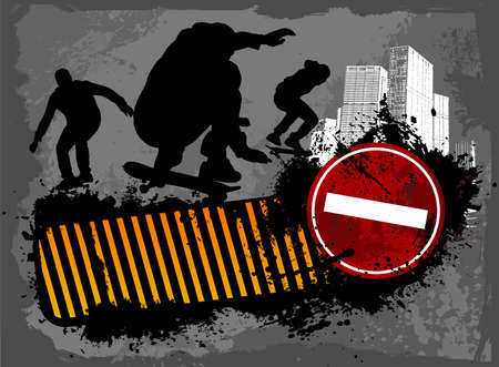 teenagers only: Grunge skaters city