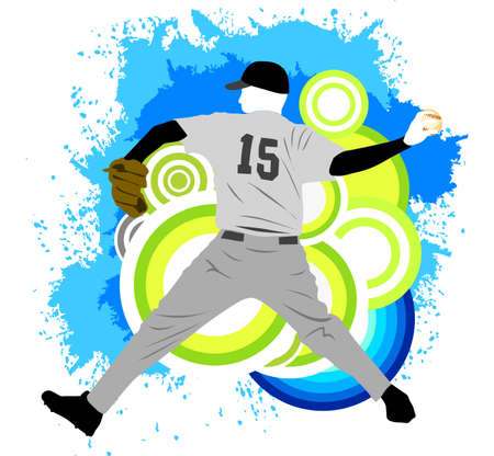 Pitcher baseball player Vector