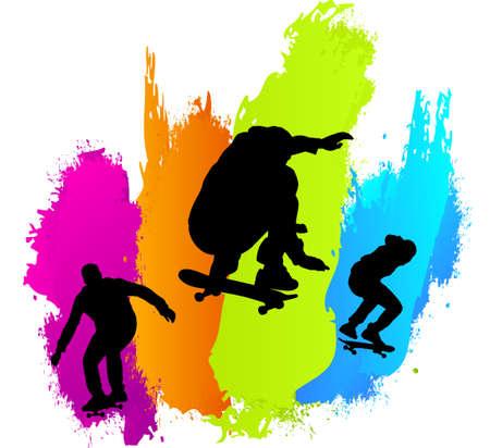 Skaters colors Ilustrace