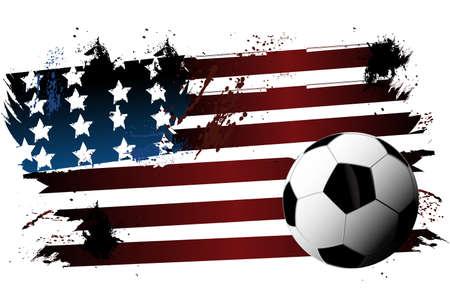 Soccer American flag Ilustração