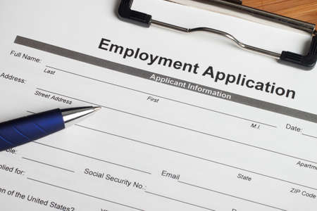 An Employment Application ready to be fill. Stock Photo