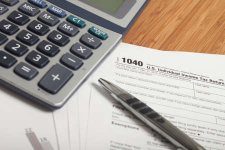 tax law: Close up U.S. taxes papers Stock Photo