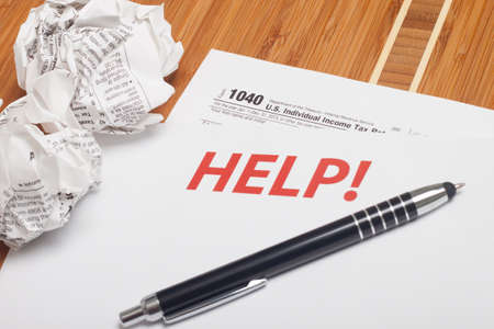 Close up U.S. taxes papers 写真素材