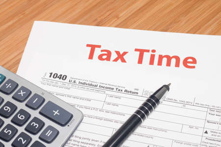 tax forms: Close up U.S. taxes papers Stock Photo