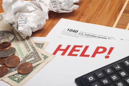 maths department: Close up U.S. taxes papers Stock Photo