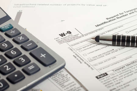Close up U.S. taxes papers Stock Photo