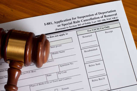 cancellation: Application Suspension of Deportation or special rule cancellation of removal Stock Photo