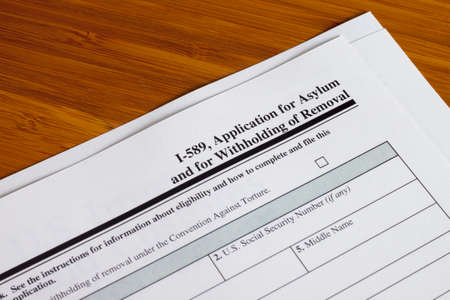 Application for asylum and for withholding of removal to fill out 写真素材