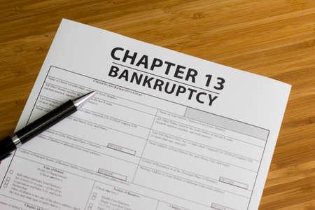 Documenten voor het indienen van een faillissement Hoofdstuk 13 Stockfoto