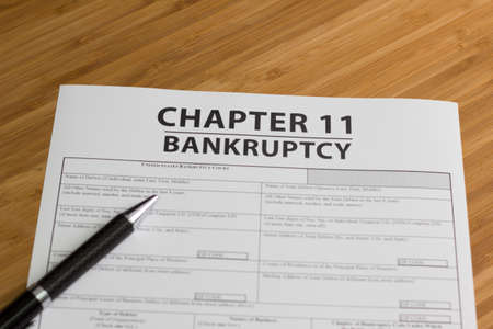 orden judicial: Los documentos para la declaración de quiebra del Capítulo 11 Foto de archivo