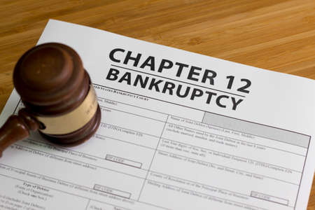 Documents for filing bankruptcy Chapter 12 Stock Photo