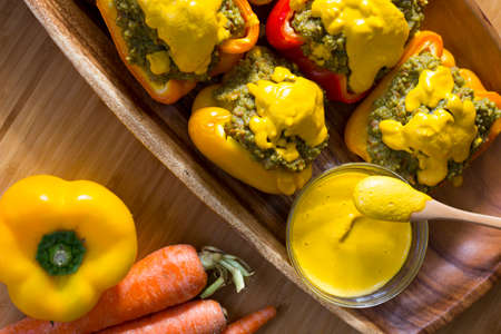 Tricolor Peppers stuffed with quinoa and avocado pesto