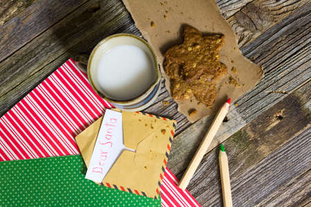 Kid Christmas Toy Letter and oats cookies with coconut milk for Santa and red and green color