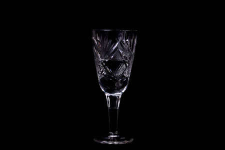 The wine glass on black background Stock Photo