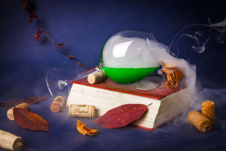 Broken wine glass, a rose and a book in a low key Stock Photo