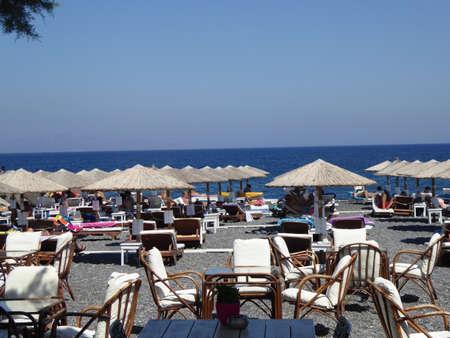 santorini greece: Kamari beach in santorini. Greece