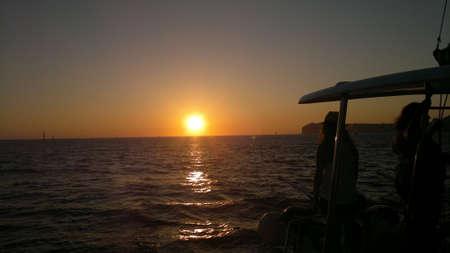 santorini island: Sunset in Santorini island, Greece