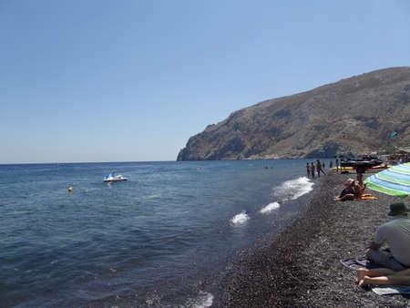 santorini greece: Kamari Beach in Santorini, Greece Stock Photo