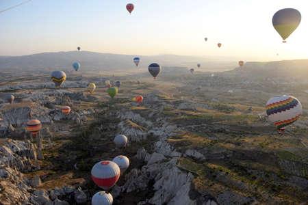 Balloon flying over Cappadocia, Turkey at sunrise