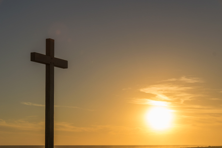 Image of cross with sun at sunset in Claromeco, Buenos Aires